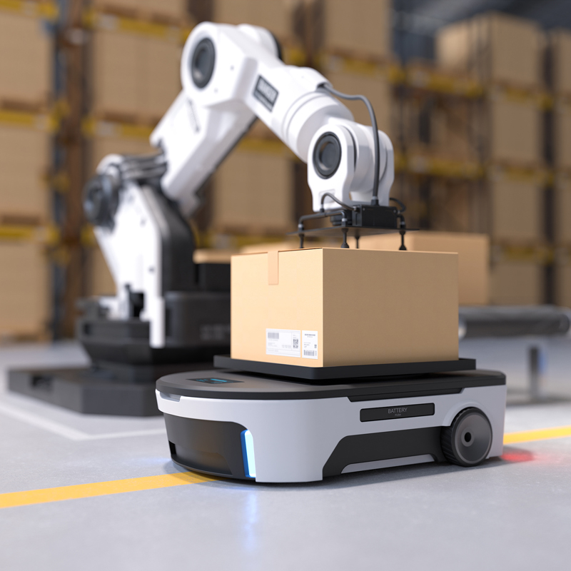 bigstock-The-Robot-Arm-Picks-Up-The-Box-407844281